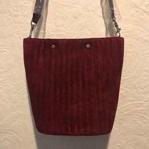 Steven Alan Rhys Burgundy Suede Bucket Bag